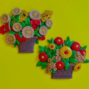 Vintage 70s floral basket wall decor set of 2